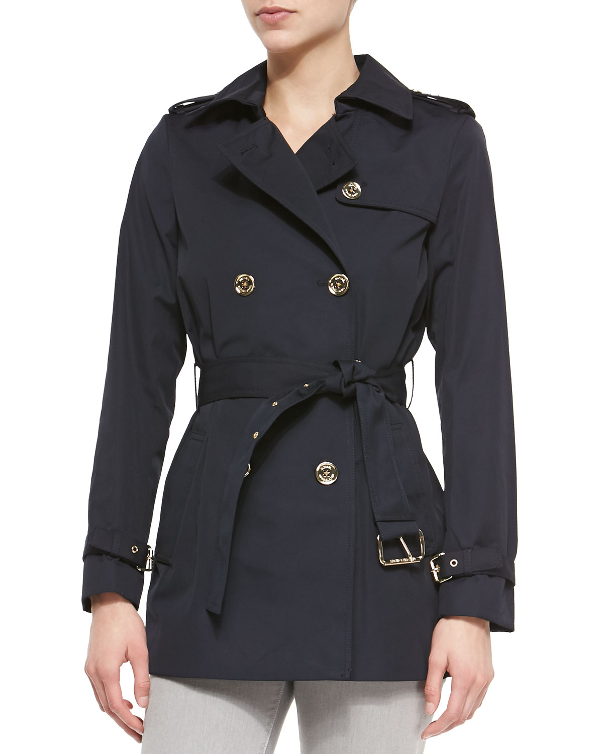 Michael michael kors Short Belted Trench Coat in Blue | Lyst