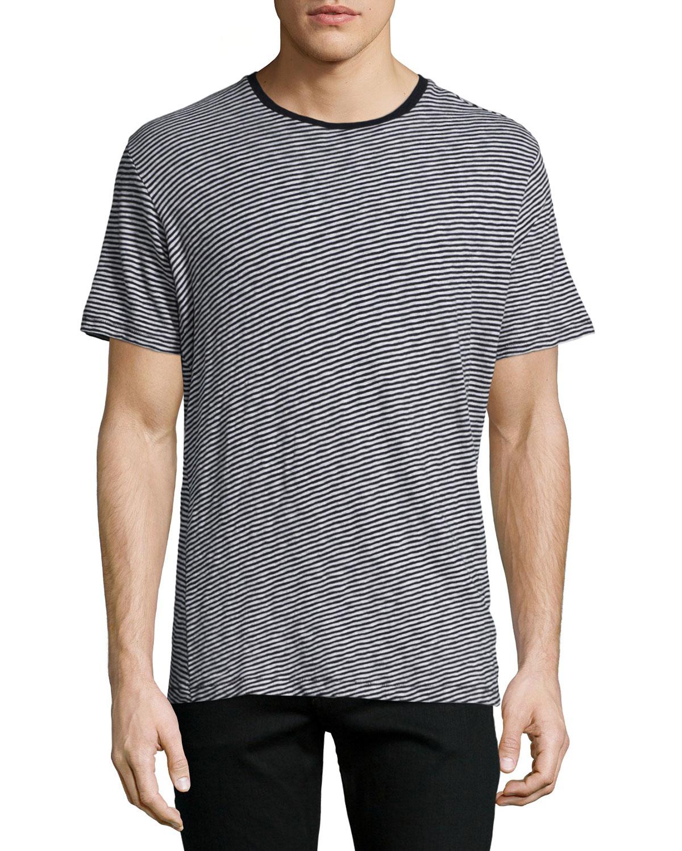Rag bone rupert striped short sleeve t shirt in gray for Grey striped t shirt