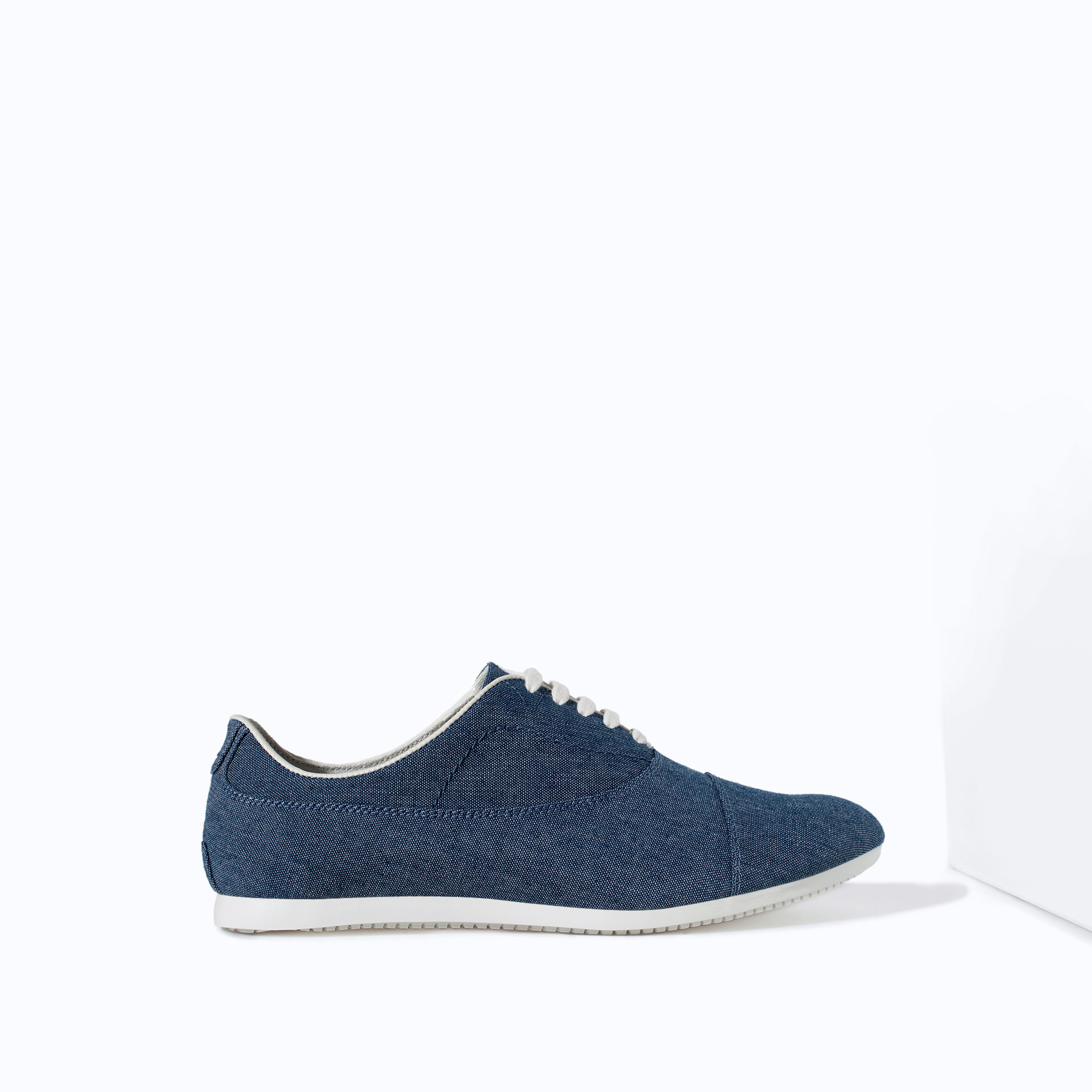 zara canvas oxford shoe in blue for lyst
