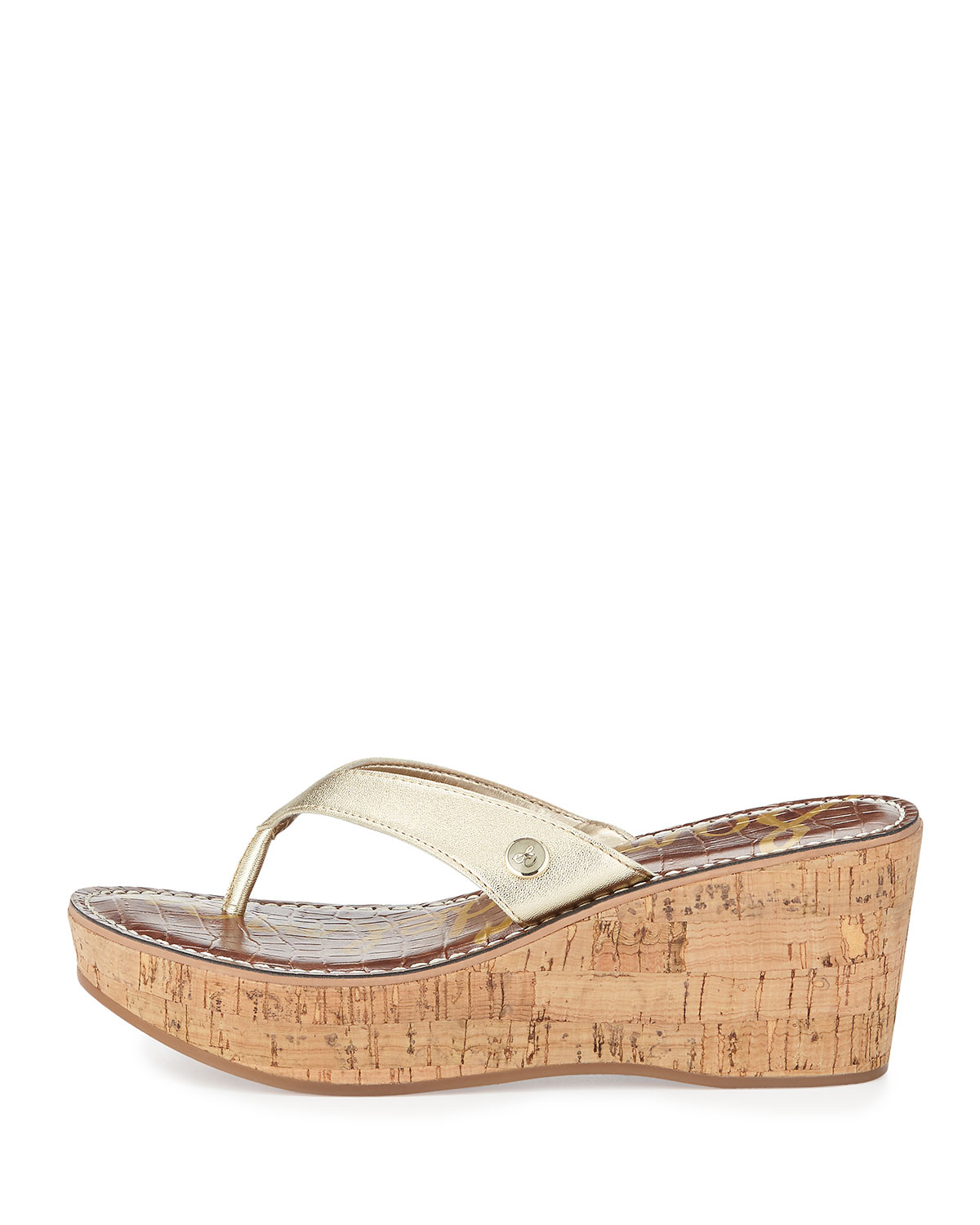 Lyst Sam Edelman Romy Patent Leather Wedge Sandal In Natural