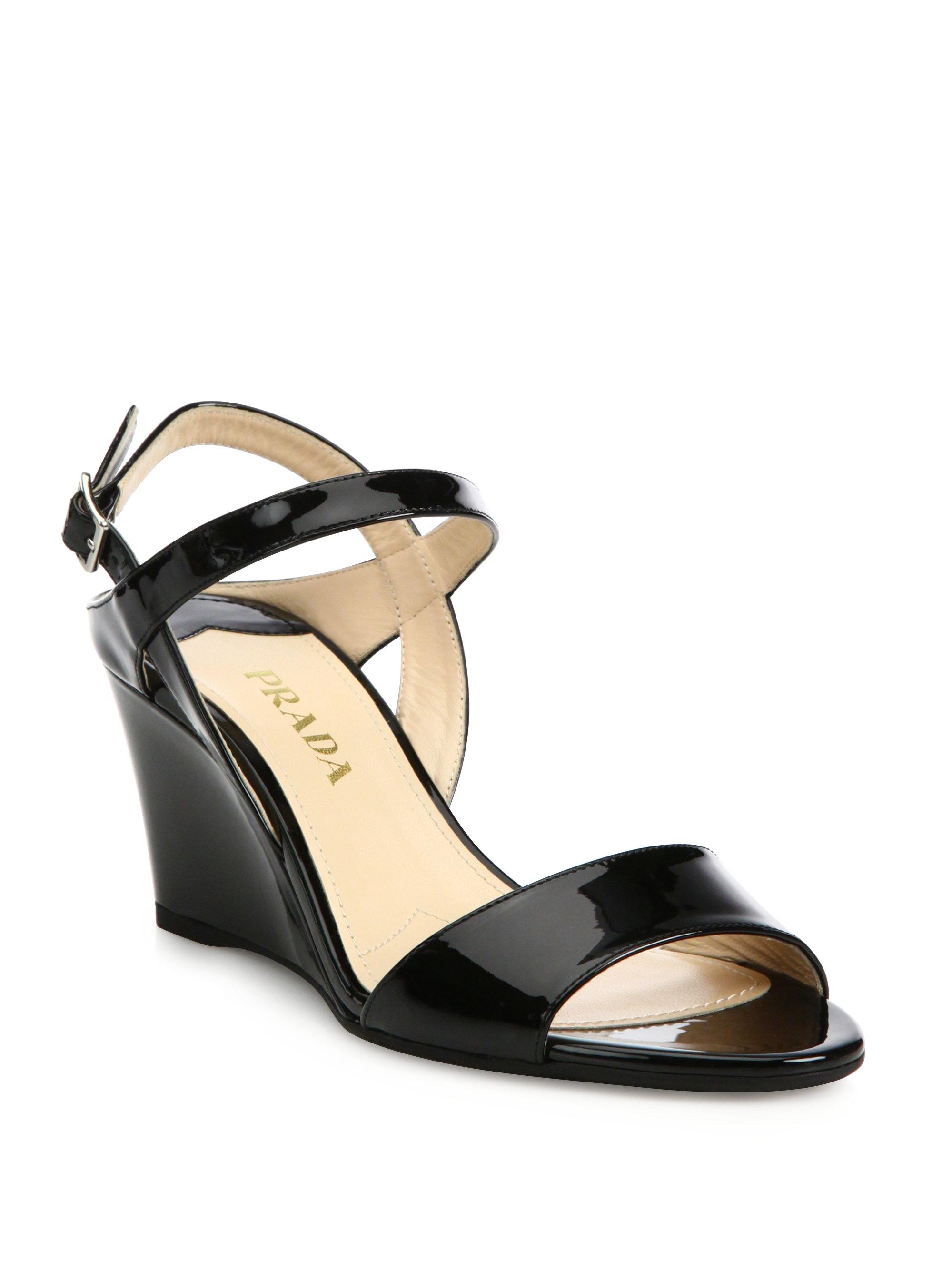 2e29bfb31b Prada Black Patent Leather Ankle-strap Wedge Sandals