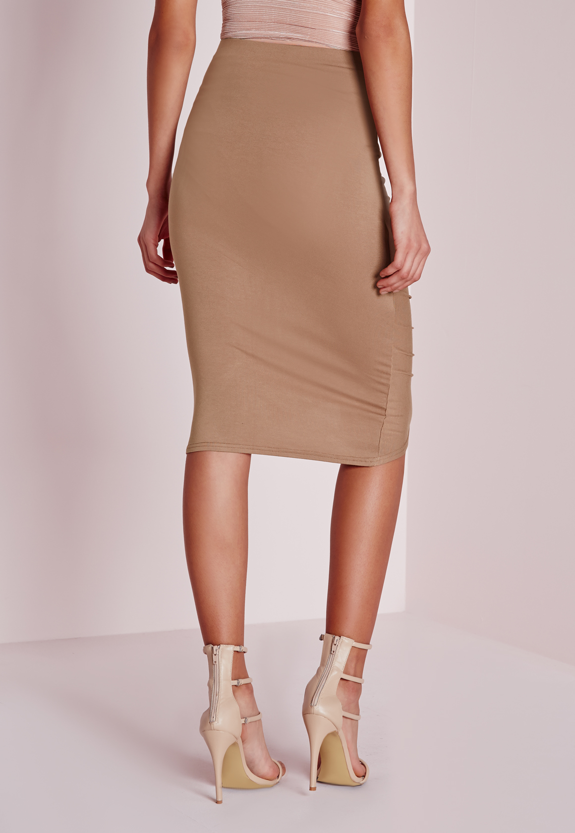 missguided frill detail gathered midi skirt camel in blue
