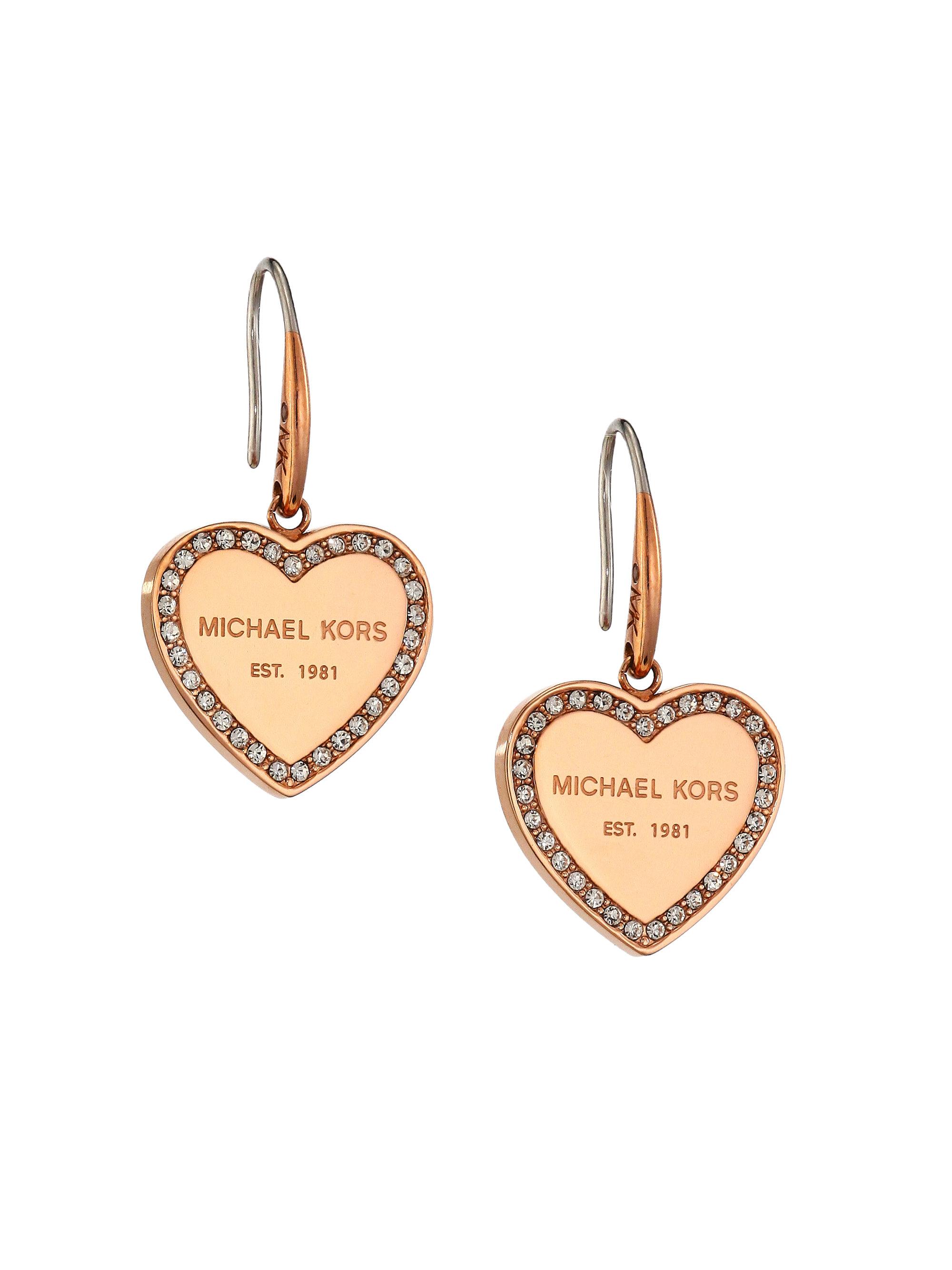 8354c812c Michael Kors Heritage Pave Logo Heart Drop Earrings/rose Goldtone in ...