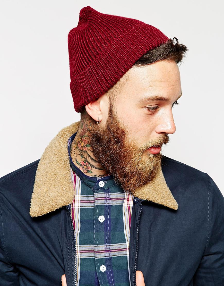 e521b3a53 ASOS Fisherman Beanie Hat In Red for men