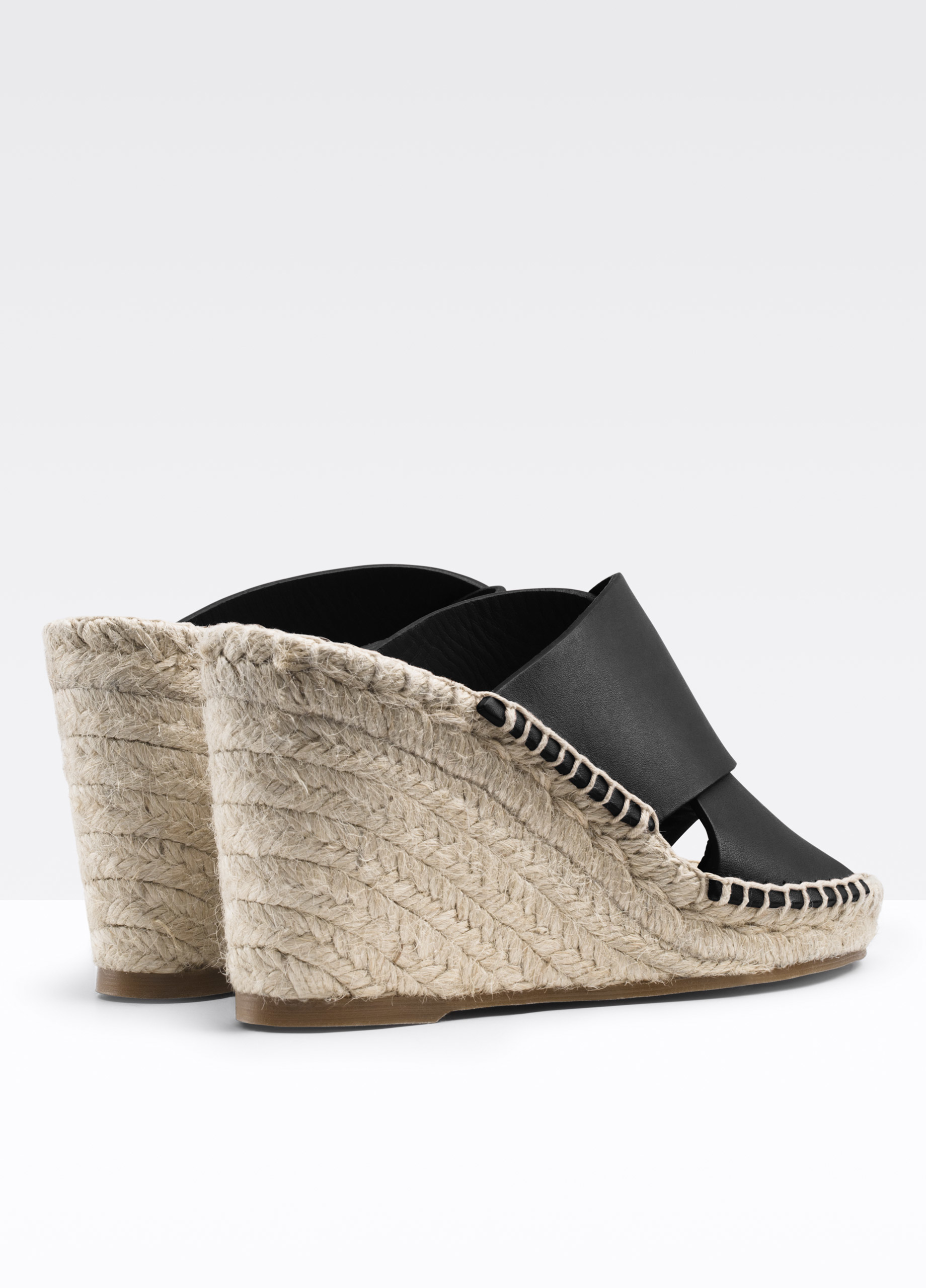 Vince Suraya Leather Espadrille Wedge Sandal In Black Lyst