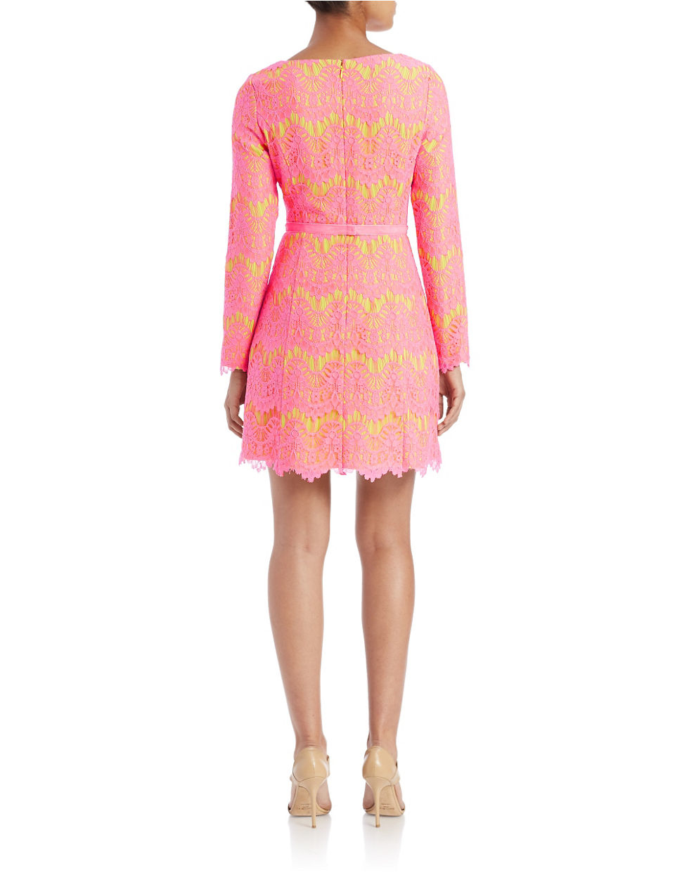 connection belted lace shift dress in pink acid