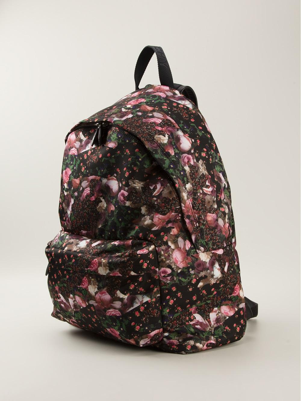 Givenchy Rose Print Backpack in Black for Men