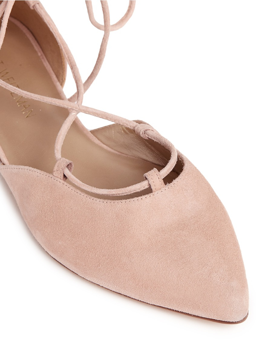 stuart weitzman gilligan d orsay suede lace up flats in