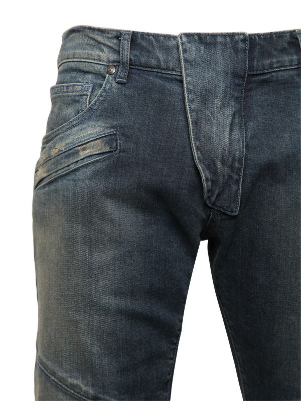 Balmain 16.5cm Biker Washed Stretch Denim Jeans in Blue for Men
