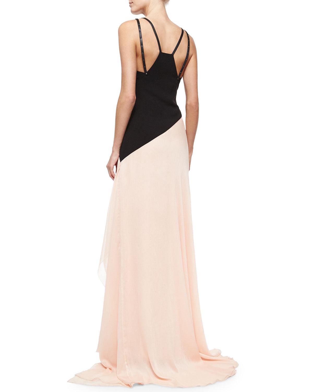 Lyst Halston Sleeveless Colorblock Asymmetric Flowy Gown