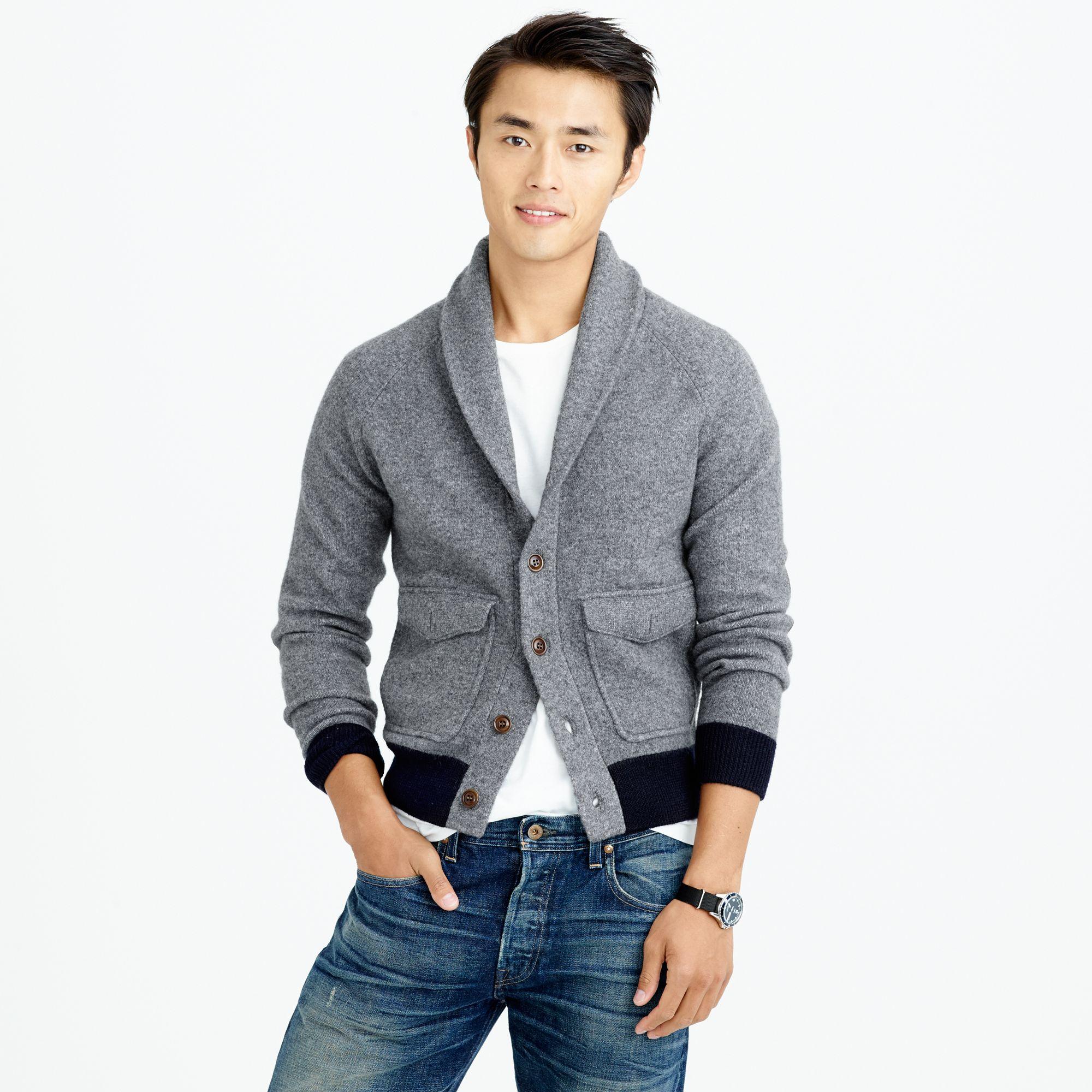 J.crew Wallace & Barnes Boiled Wool Sweater-Jacket In Gray