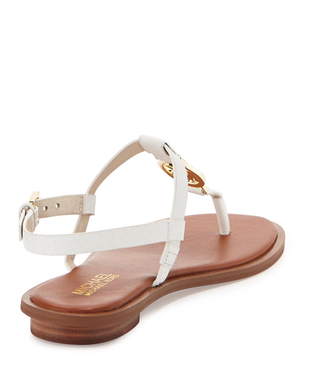 2f24393b6f960f Lyst - MICHAEL Michael Kors Sondra Logo Sandal in White
