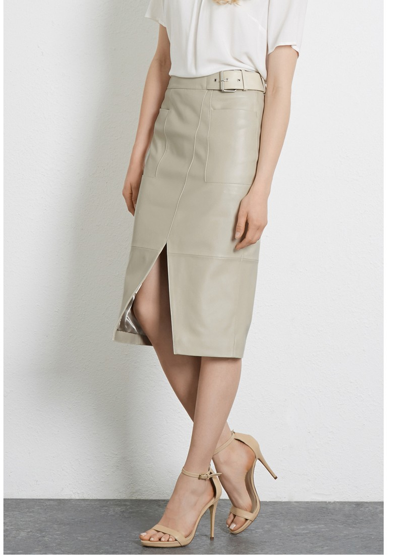 Warehouse Wrap Front Leather Skirt in Natural   Lyst
