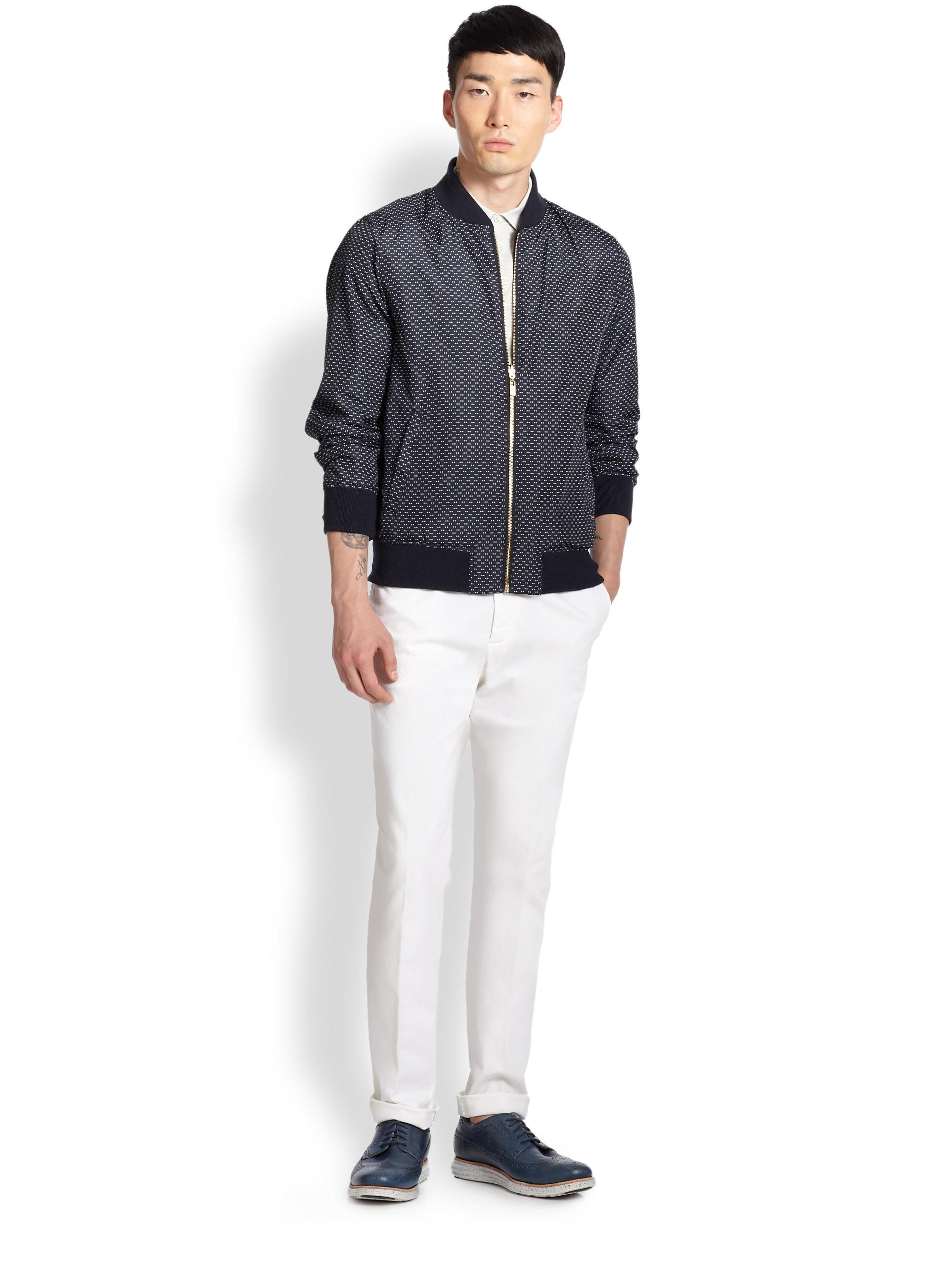 Atelier scotch Reversible Print Wool-blend Baseball Jacket in Blue