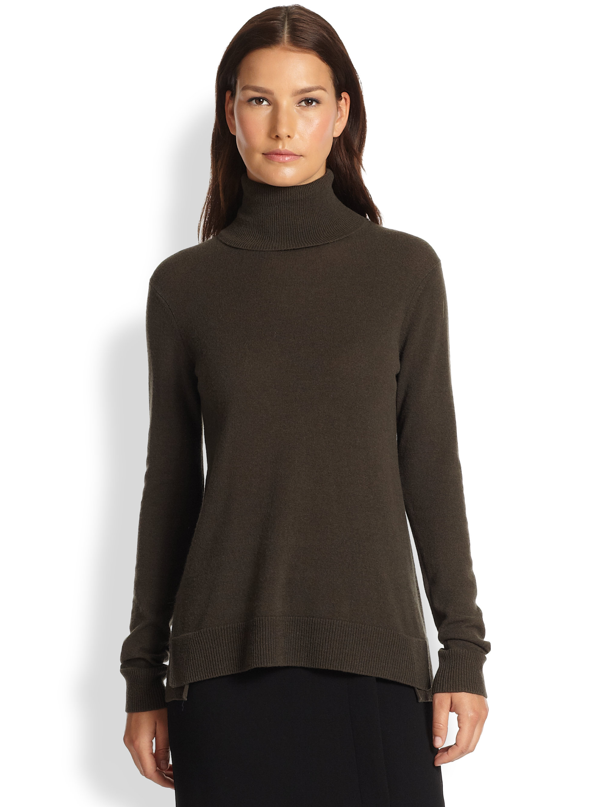 08396f7145f33 Lyst - Vince Cashmere Overlay Turtleneck Sweater in Brown
