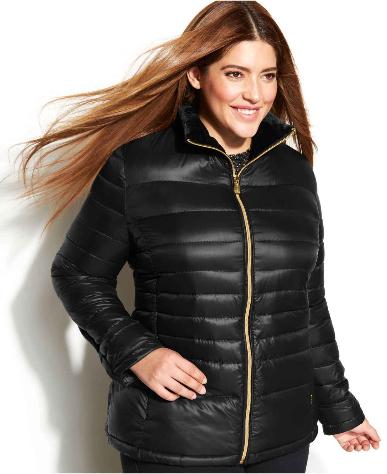 c2016c8a1 Calvin Klein Black Plus Size Quilted Packable Down Puffer Coat