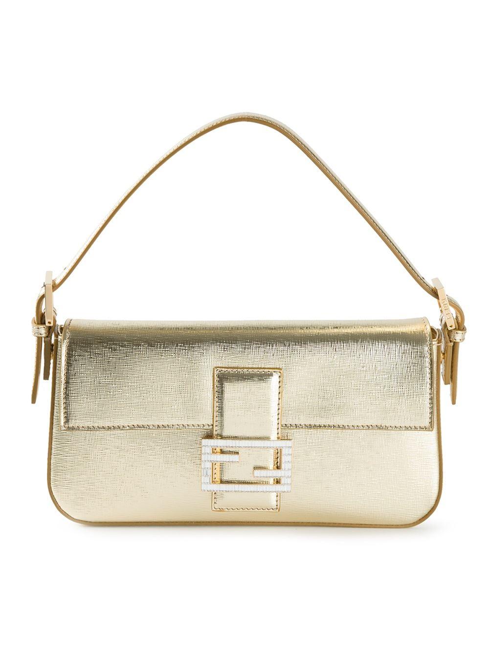 Fendi Baguette Leather Shoulder Bag in Metallic