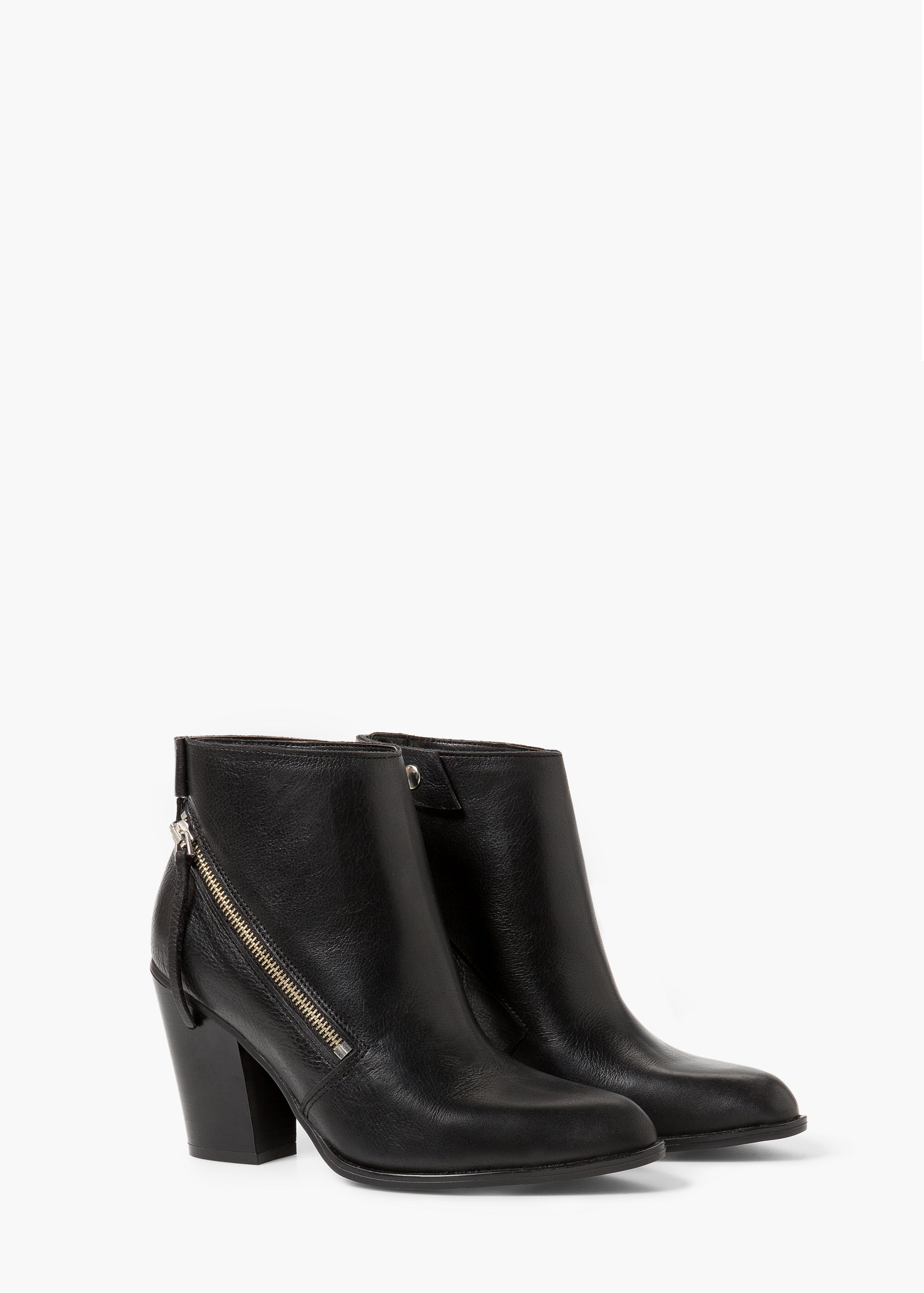 mango zipped leather ankle boots in black lyst
