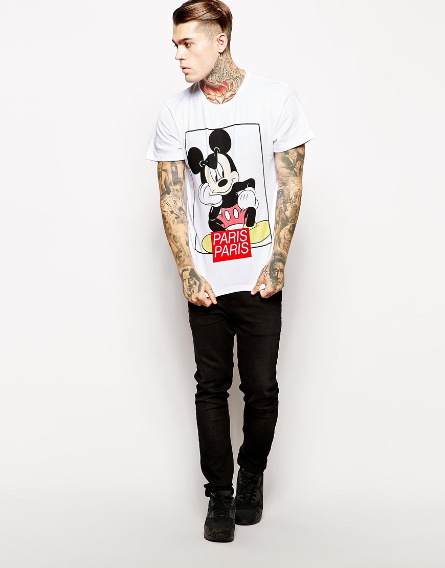 86b1d247 ELEVEN PARIS Tshirt with Mickey Mouse Print in White for Men - Lyst