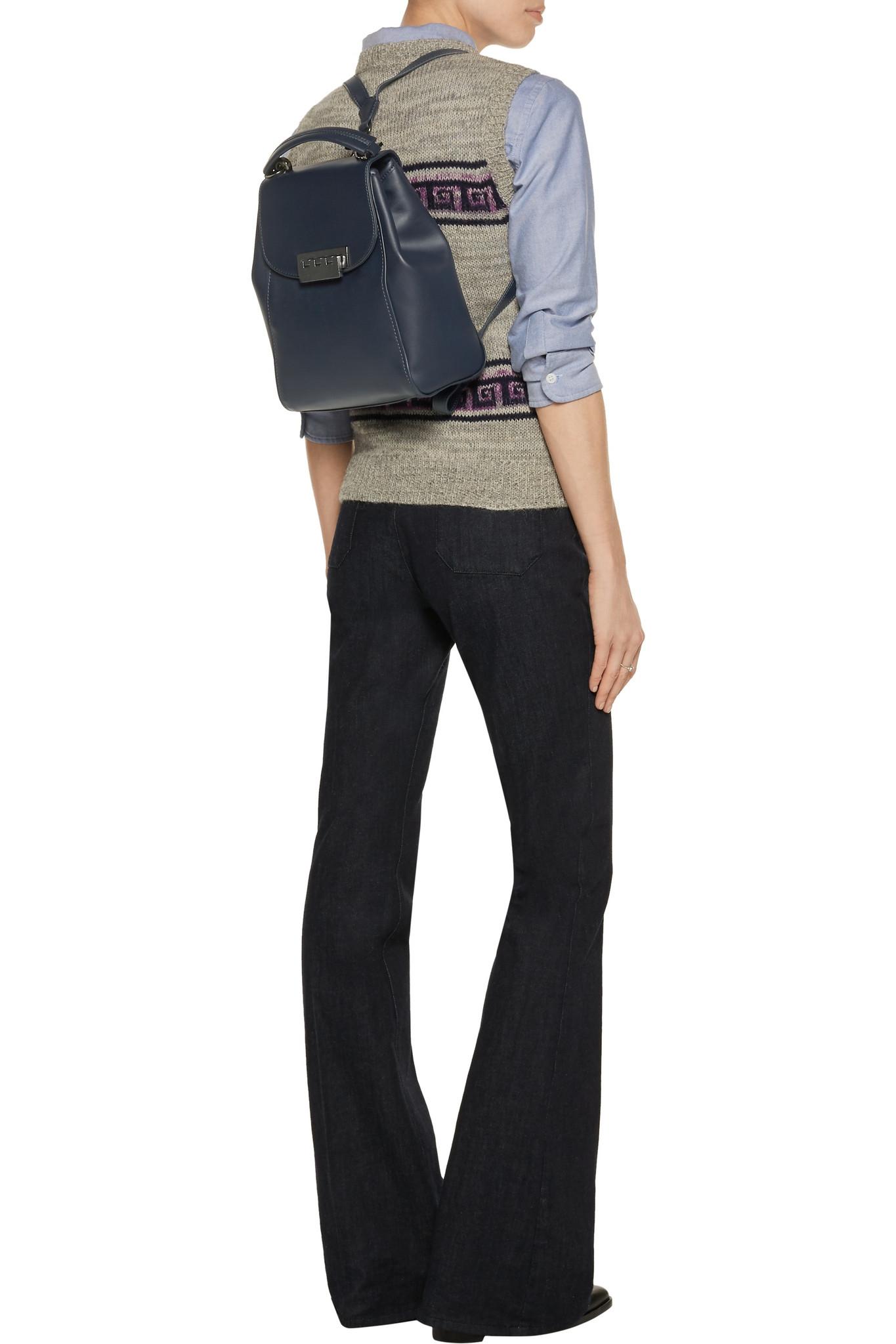 Zac zac posen Eartha Metallic Leather Backpack in Blue