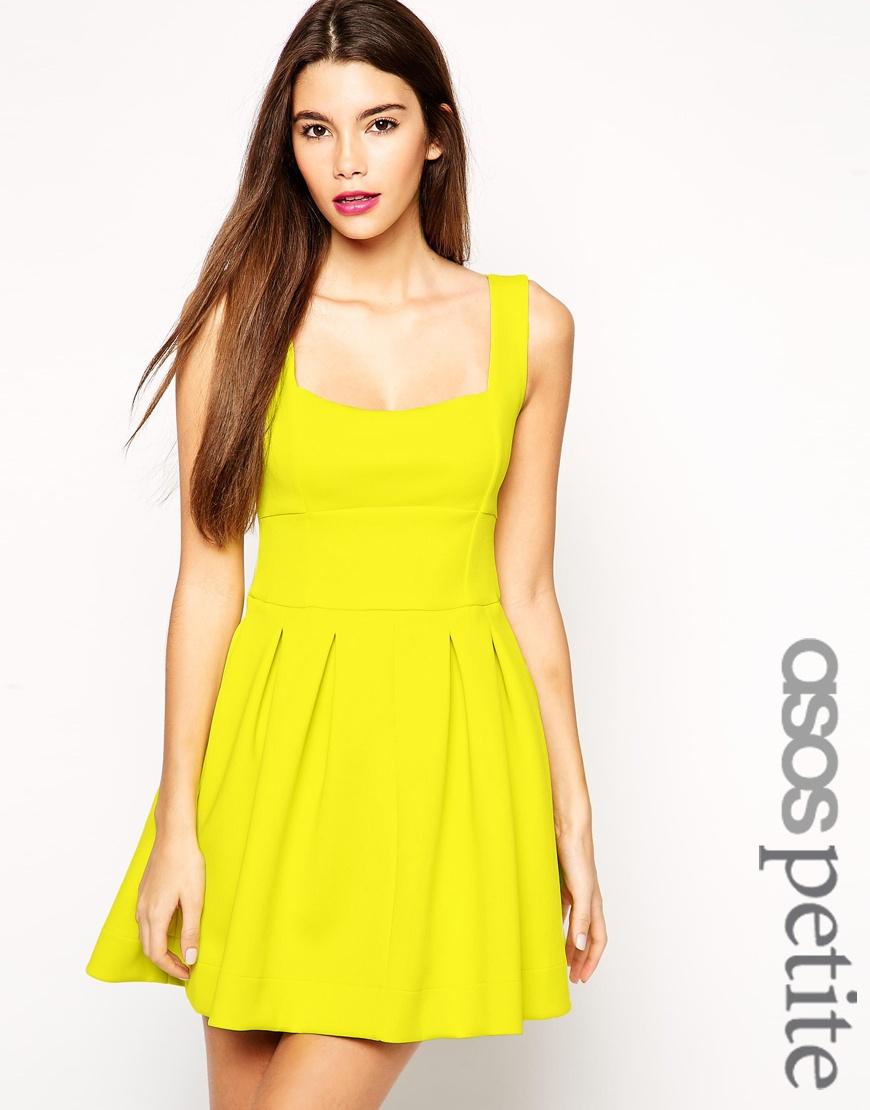 4bace33343b ASOS Debutante Mini Dress In Scuba in Yellow - Lyst