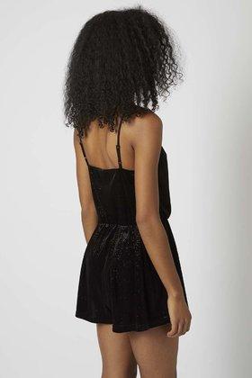 TOPSHOP Sparkle Velvet Playsuit in Black