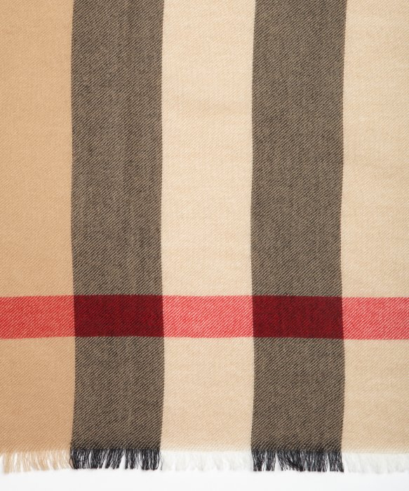 Burberry Camel Cashmere Nova Check Pattern Scarf in Brown Lyst