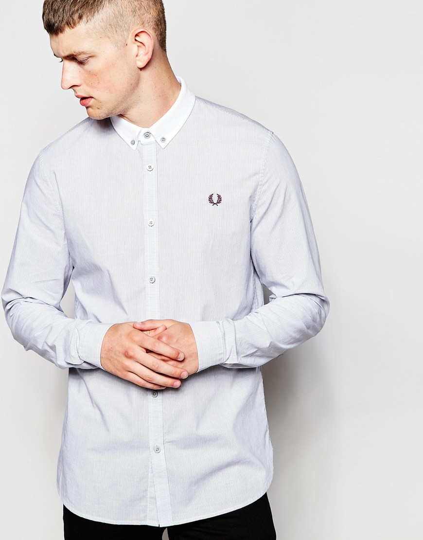Lyst - Fred Perry Shirt In Slim Fit With Stripe And ...