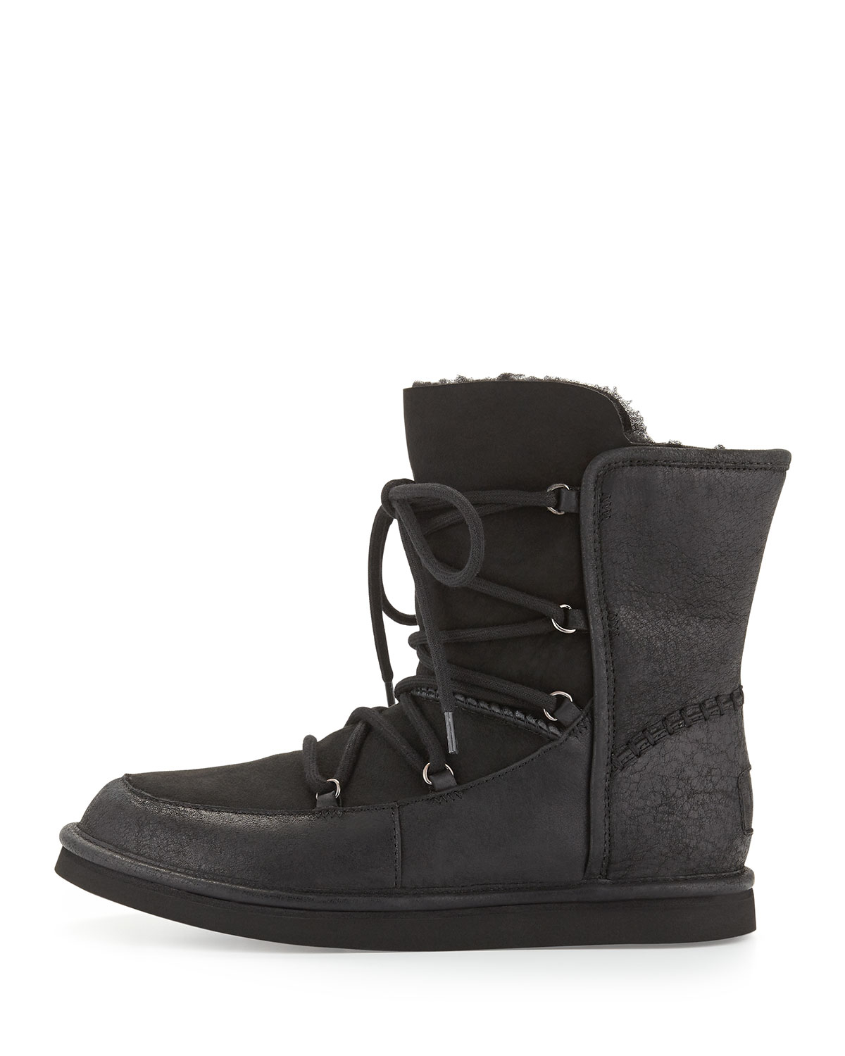 ugg furry lace up boots