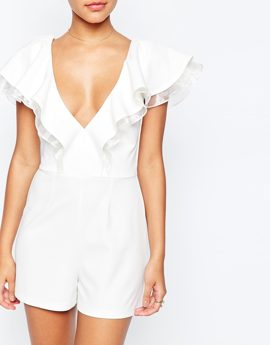 7088ef9e64 Lyst - ASOS Occasion Playsuit With Ruffle in White