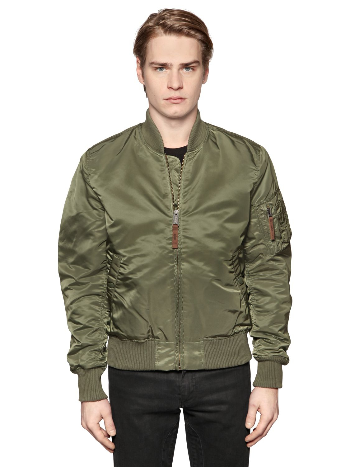 Alpha industries Slim Fit Nylon Bomber Jacket in Green | Lyst