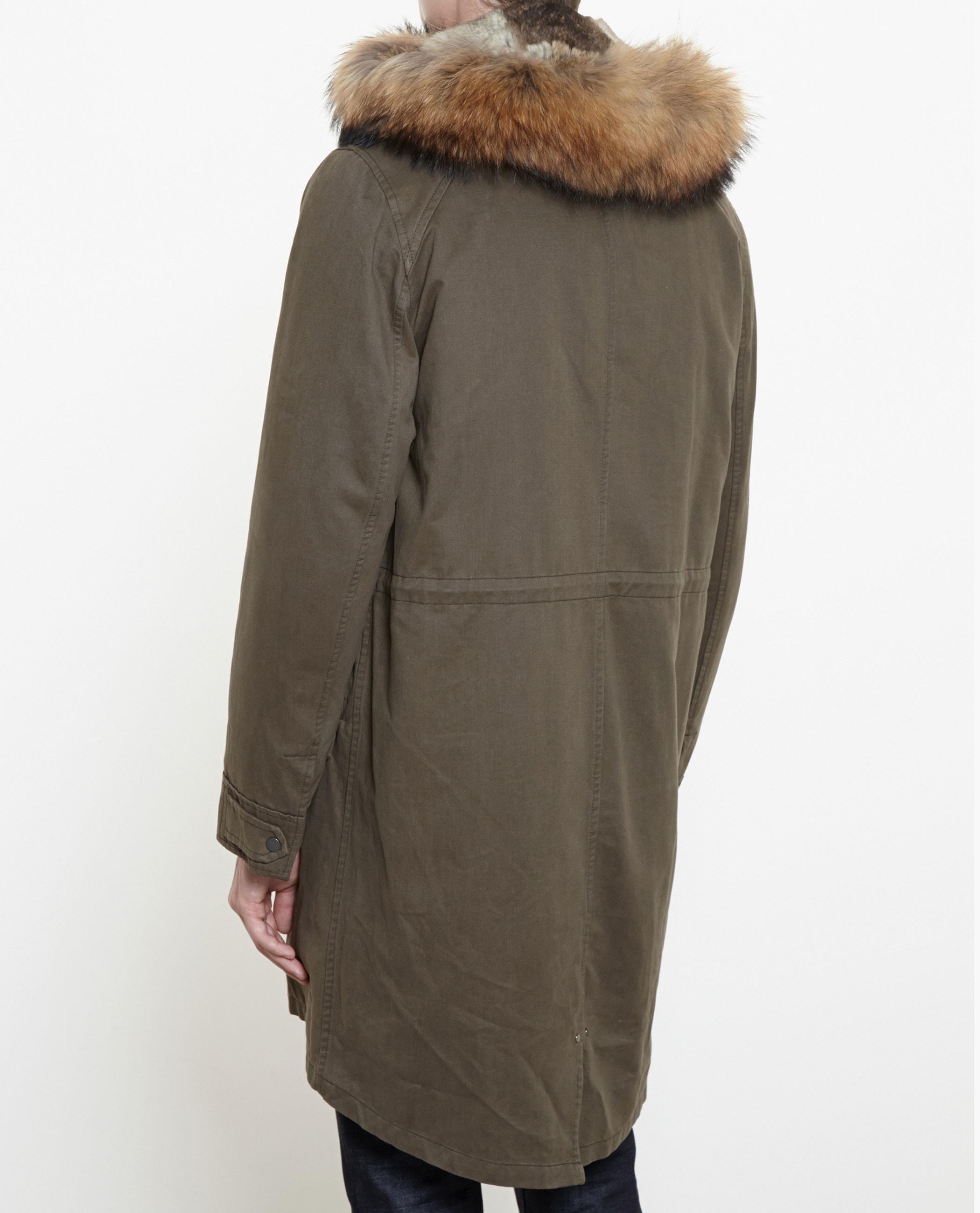 84183b9777c6 Lyst - Yves Salomon Classic Rabbit Fur-lined Canvas Parka in Gray ...