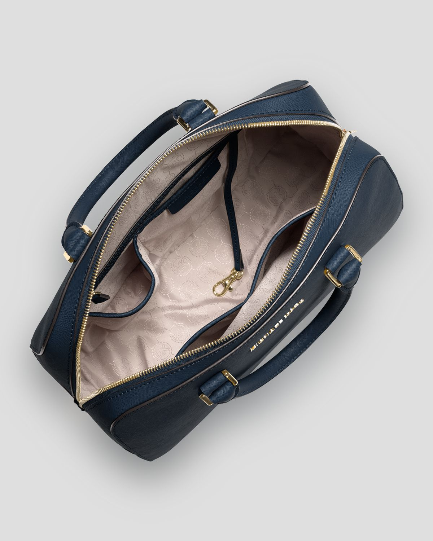 michael michael kors large jet set travel satchel in blue lyst. Black Bedroom Furniture Sets. Home Design Ideas