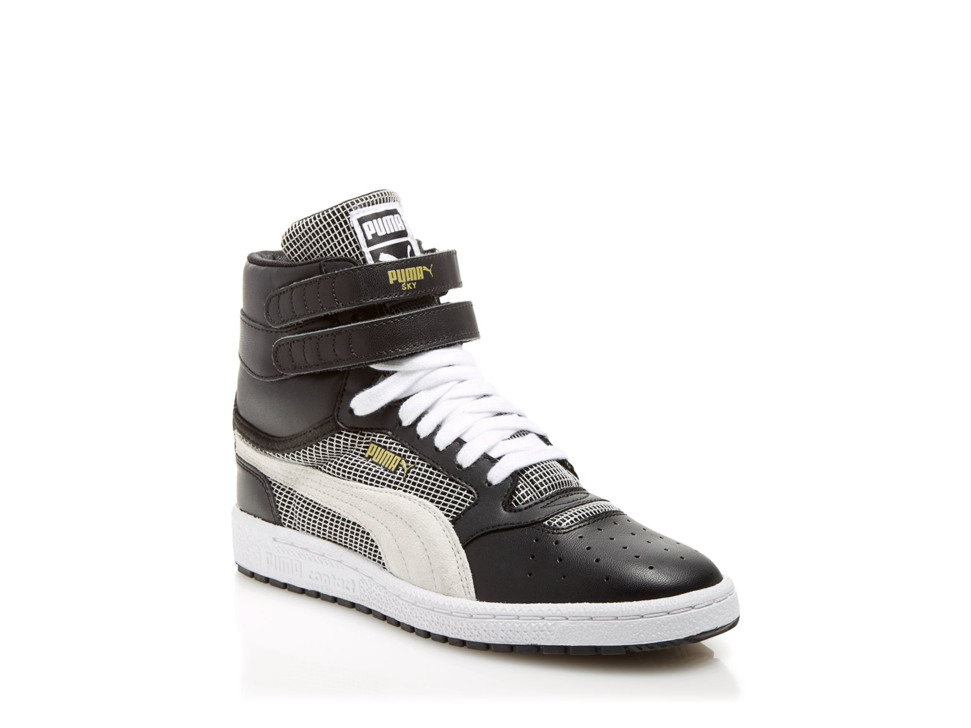 Puma high top sneakers sky ii hi blocks amp stripes in black lyst