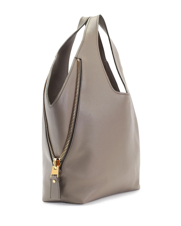 lyst tom ford jennifer side zip leather hobo bag in brown. Black Bedroom Furniture Sets. Home Design Ideas