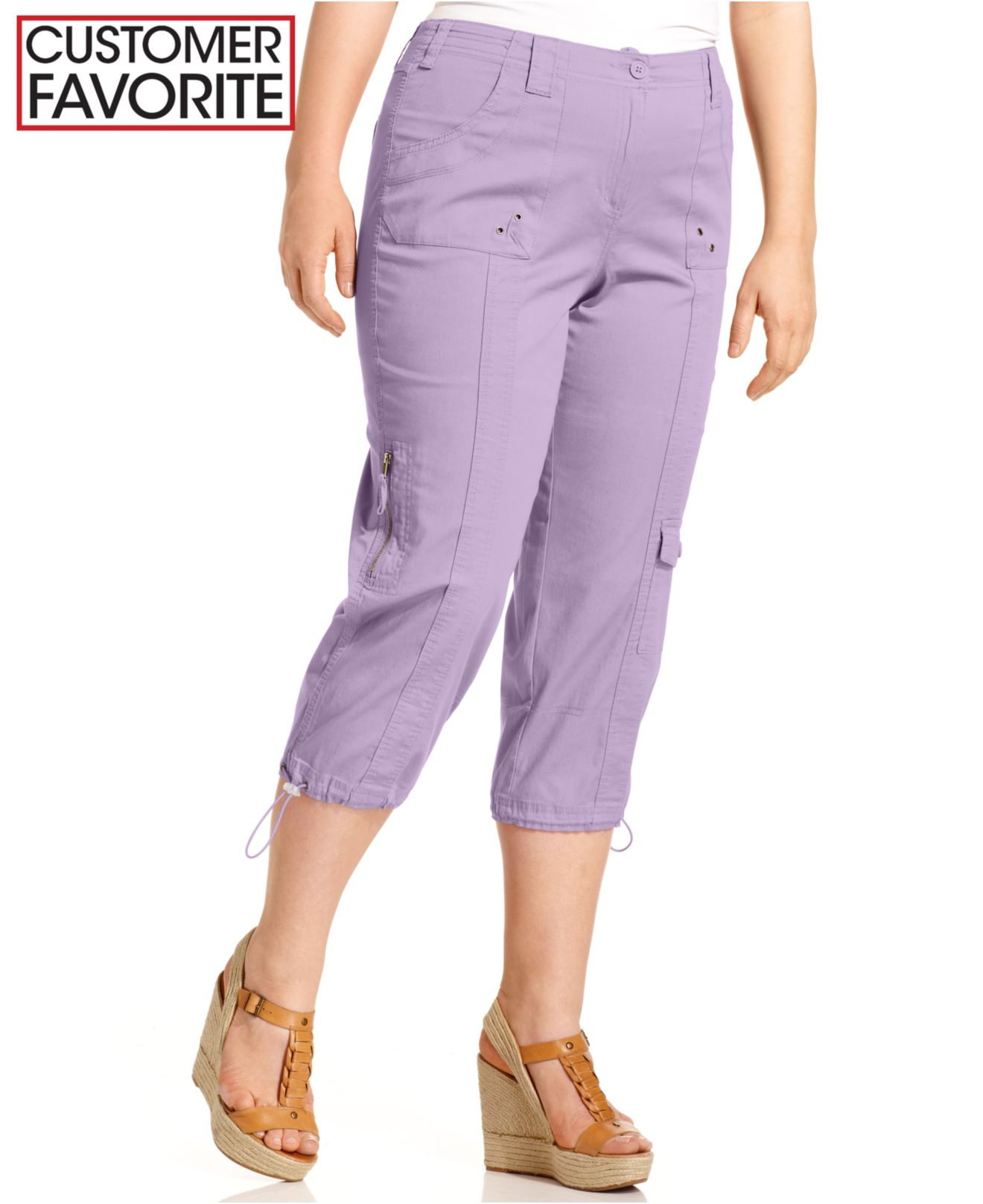 Style & co. Style&Co. Plus Size Cargo Capri Pants in Purple | Lyst