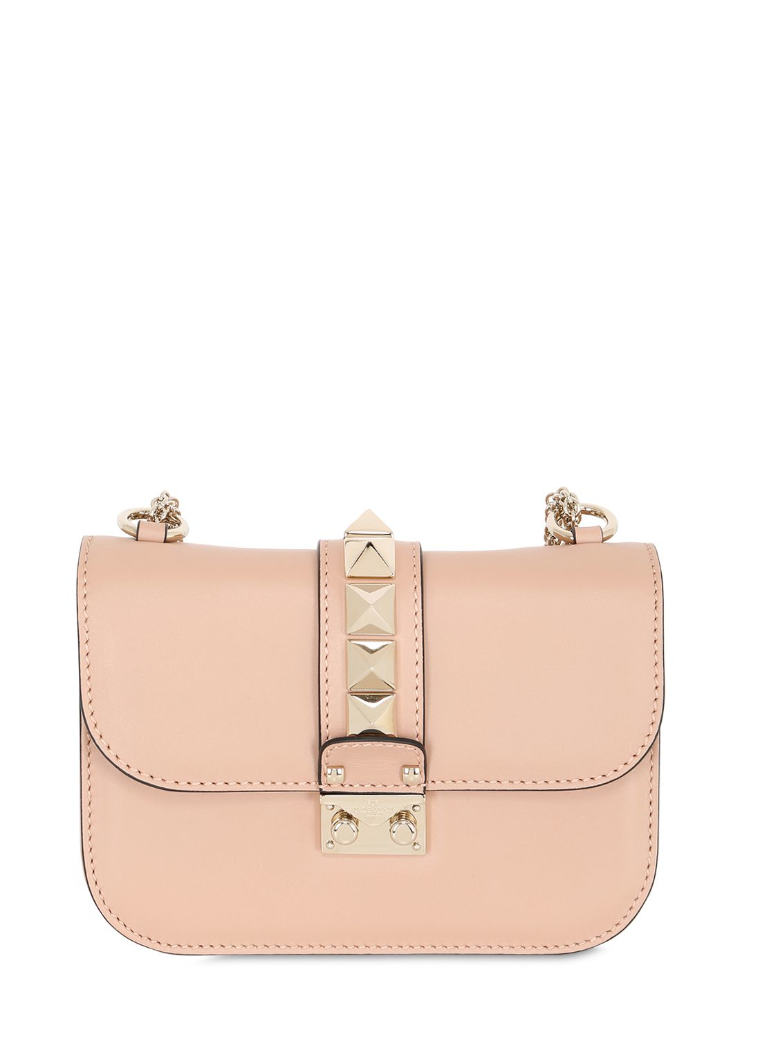 54cbbf6d7e Lyst - Valentino Small Lock Nappa Leather Shoulder Bag in Pink