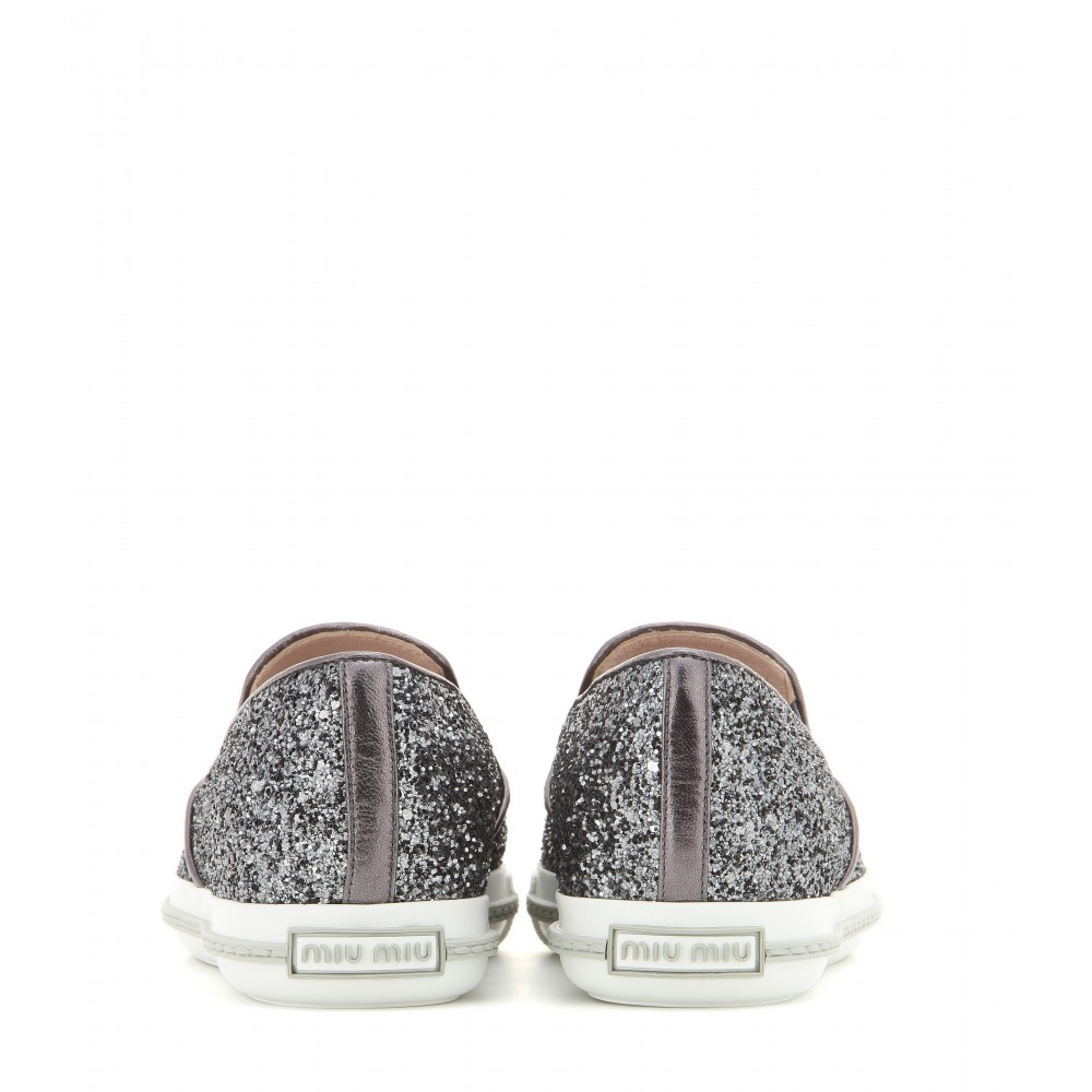 Miu Miu Glitter Slip-On Sneakers in Metallic