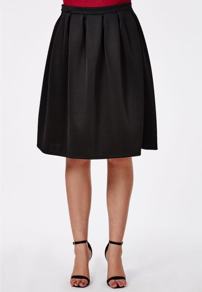 missguided plus size midi skater skirt black in black lyst