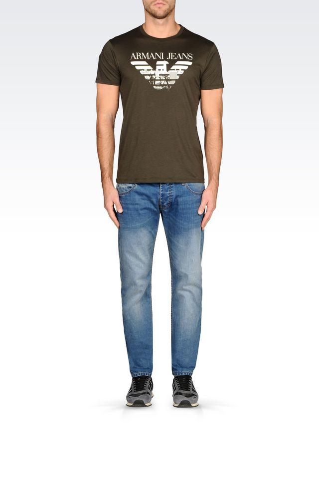 armani print t shirt in green for lyst