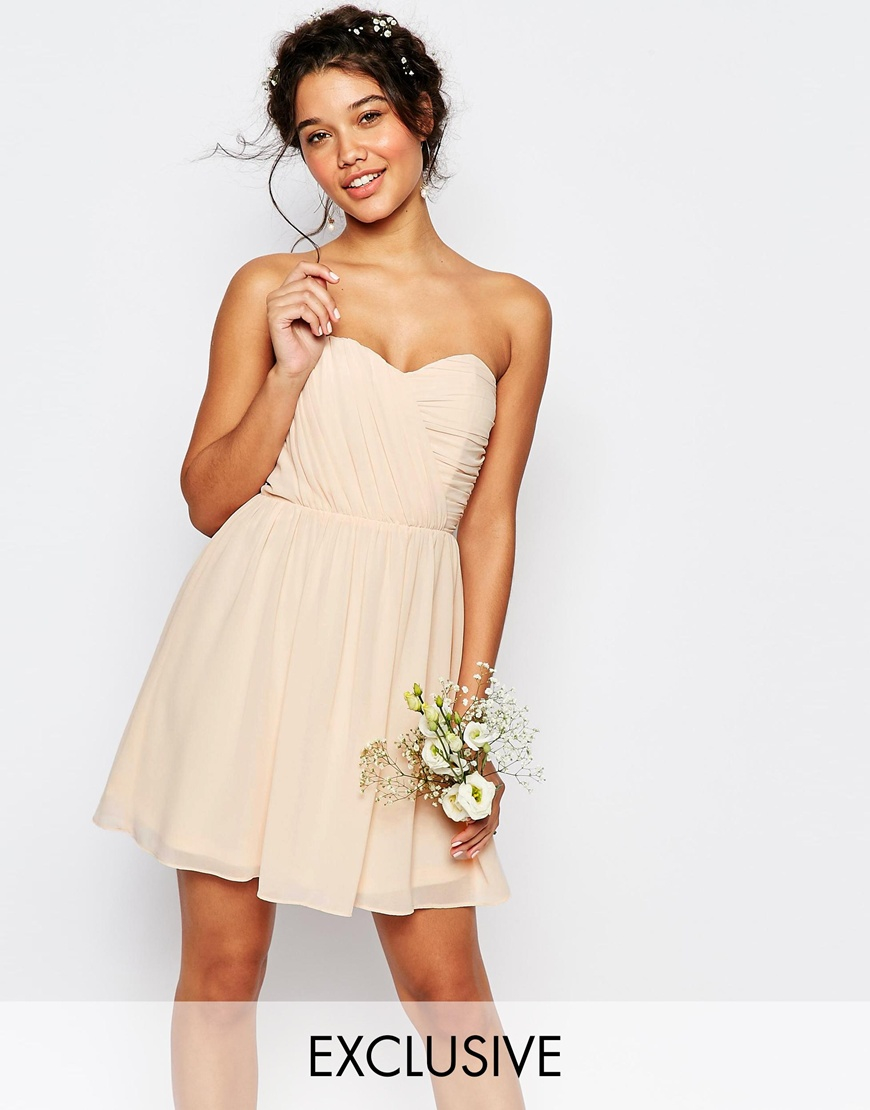 Tfnc London Wedding Bandeau Chiffon Mini Dress In Natural