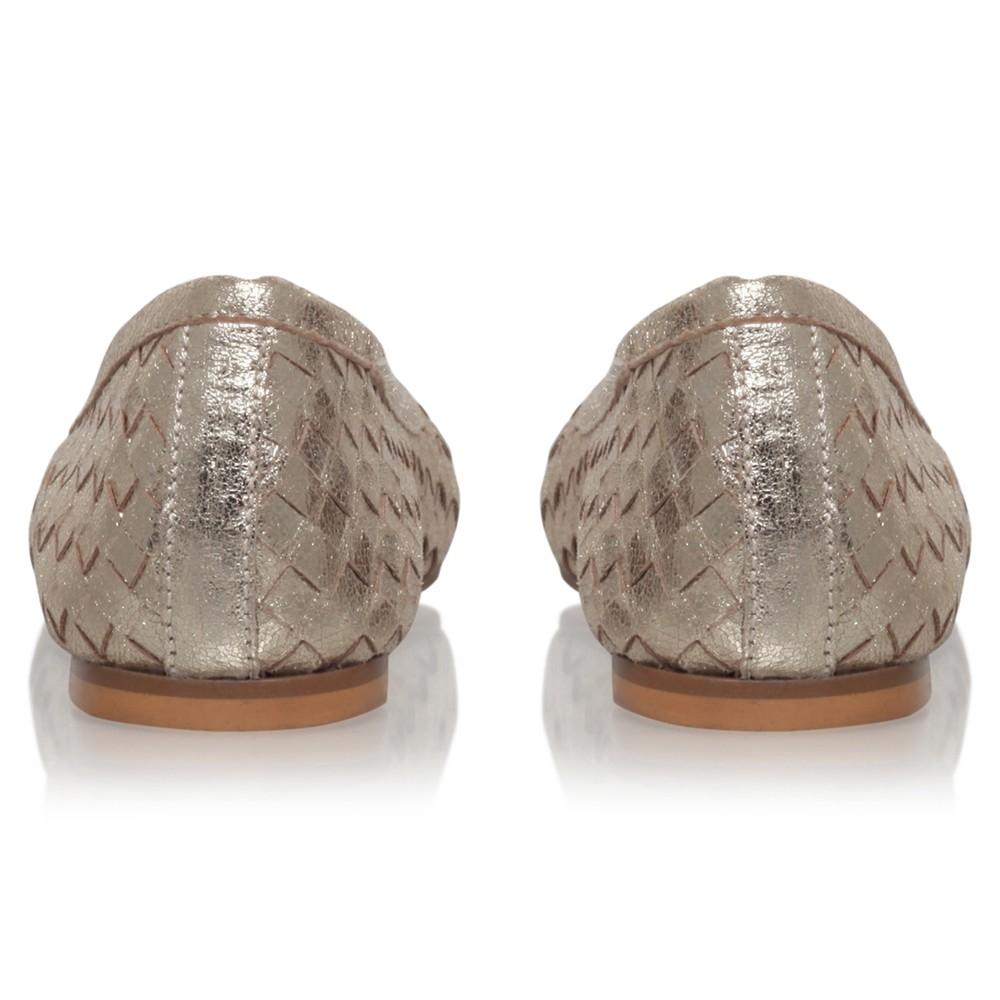 566b99f55 Carvela Kurt Geiger Luggage Woven Leather Ballerina Pumps in Metallic - Lyst