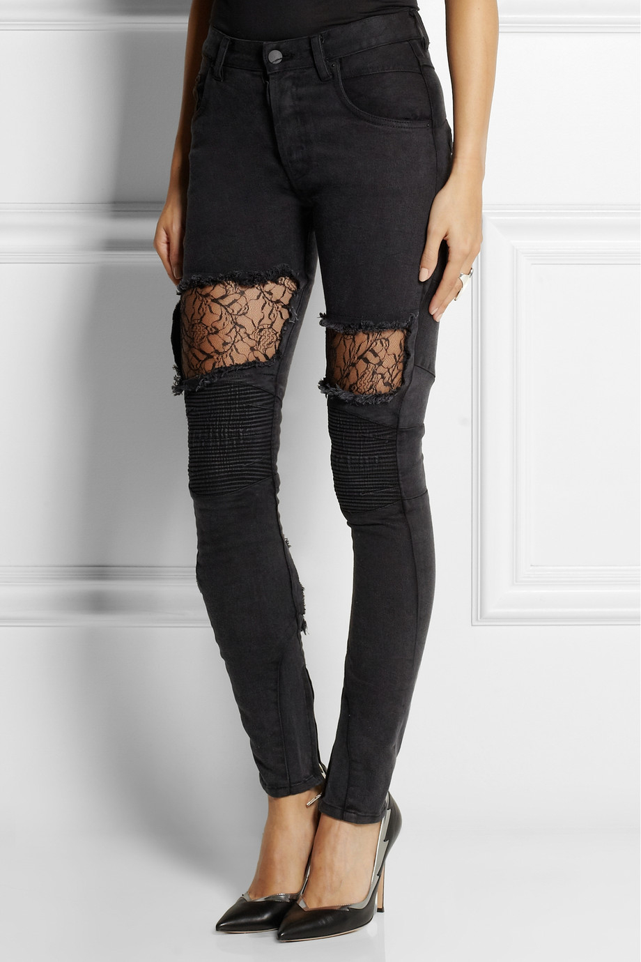 Vinti Andrews + Lace-Paneled Mid-Rise Skinny Jeans in Black