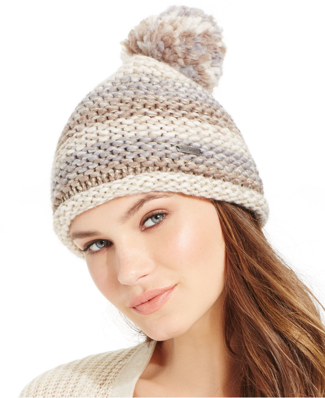 Lyst - Steve Madden Time To Shine Cuff Hat With Pom in Natural d22514b7a1a