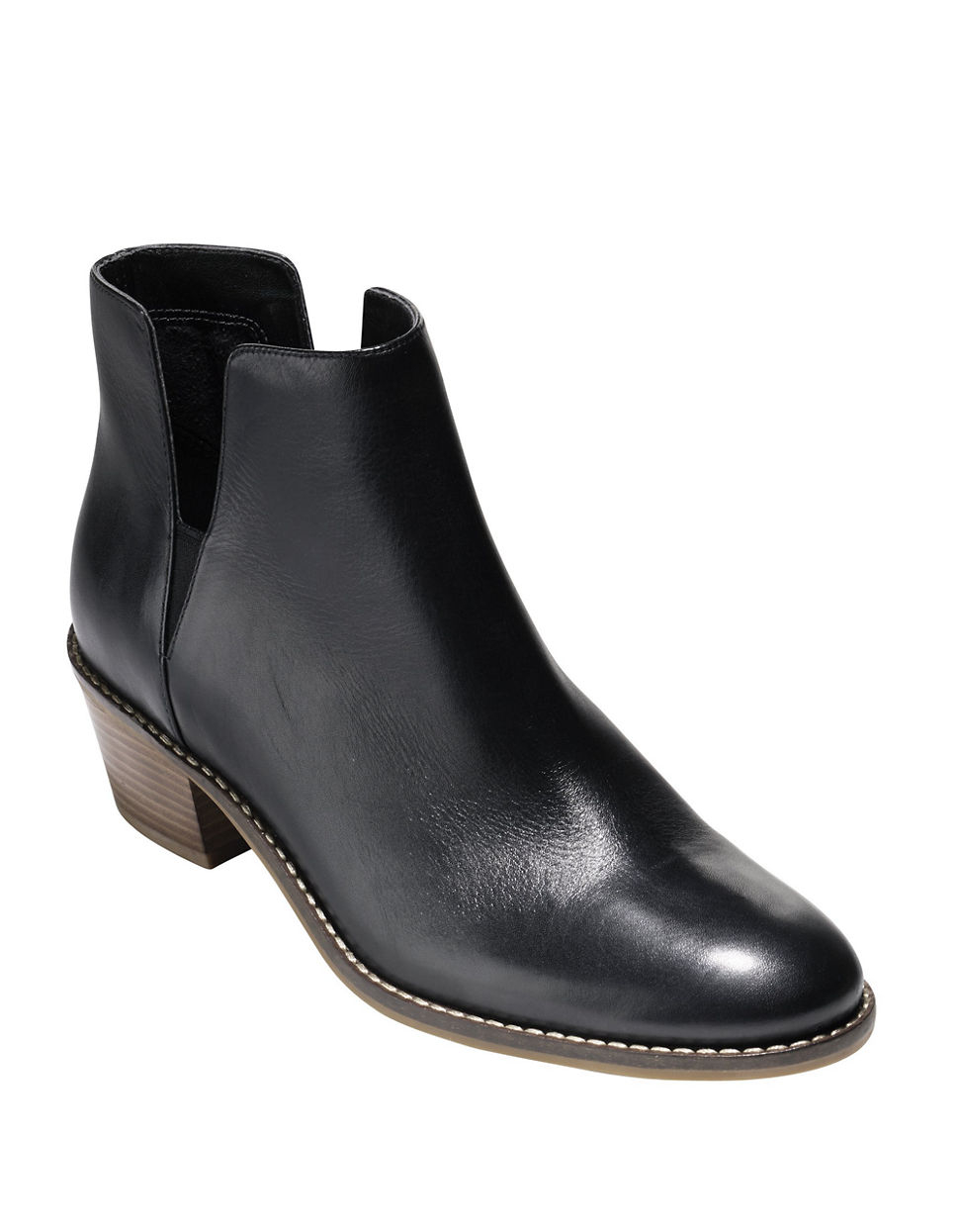 cole haan abbot leather booties in black lyst