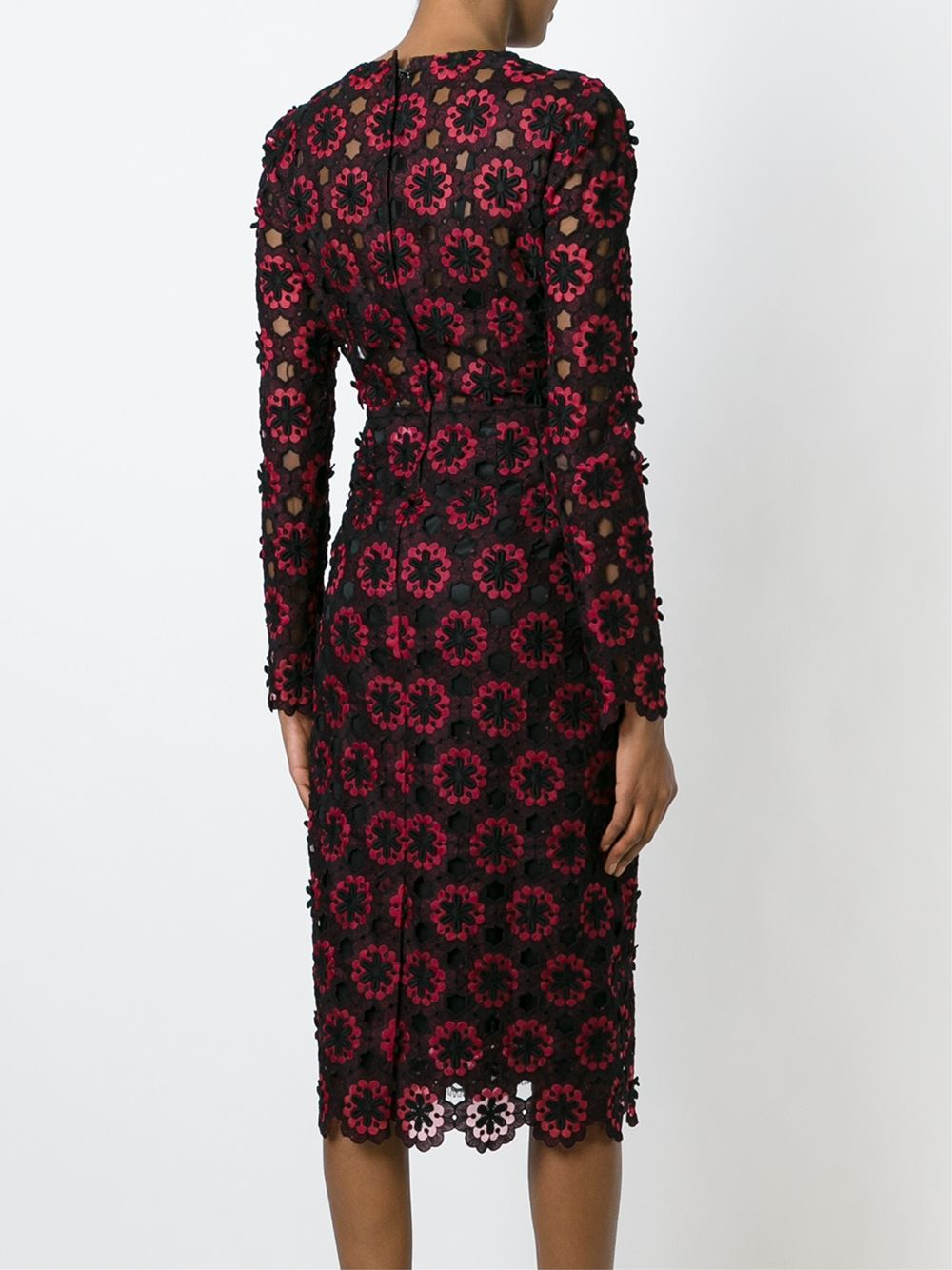 Lyst Dolce Amp Gabbana Floral Embroidered Lace Midi Dress