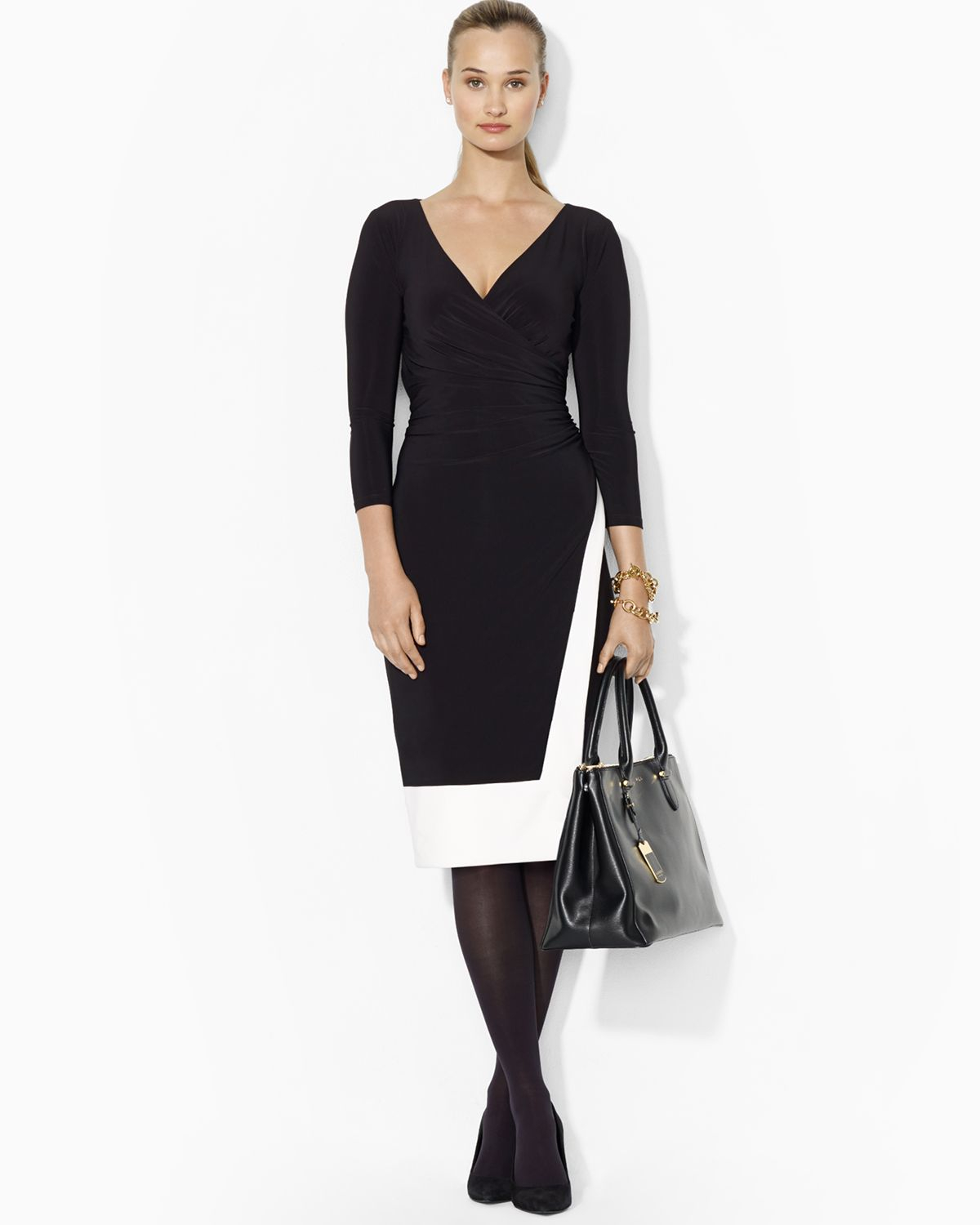 Lauren Ralph Lauren Väskor : Ralph lauren v neck two tone matte jersey dress in