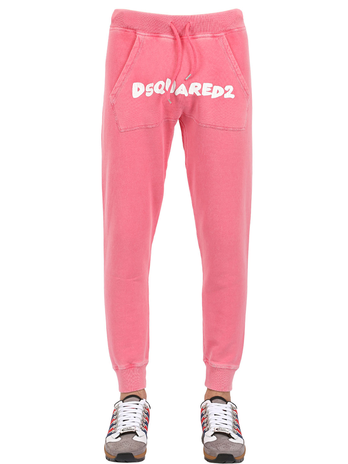 Dsquared 178 Washed Cotton Jogging Pants In Pink For Men Lyst