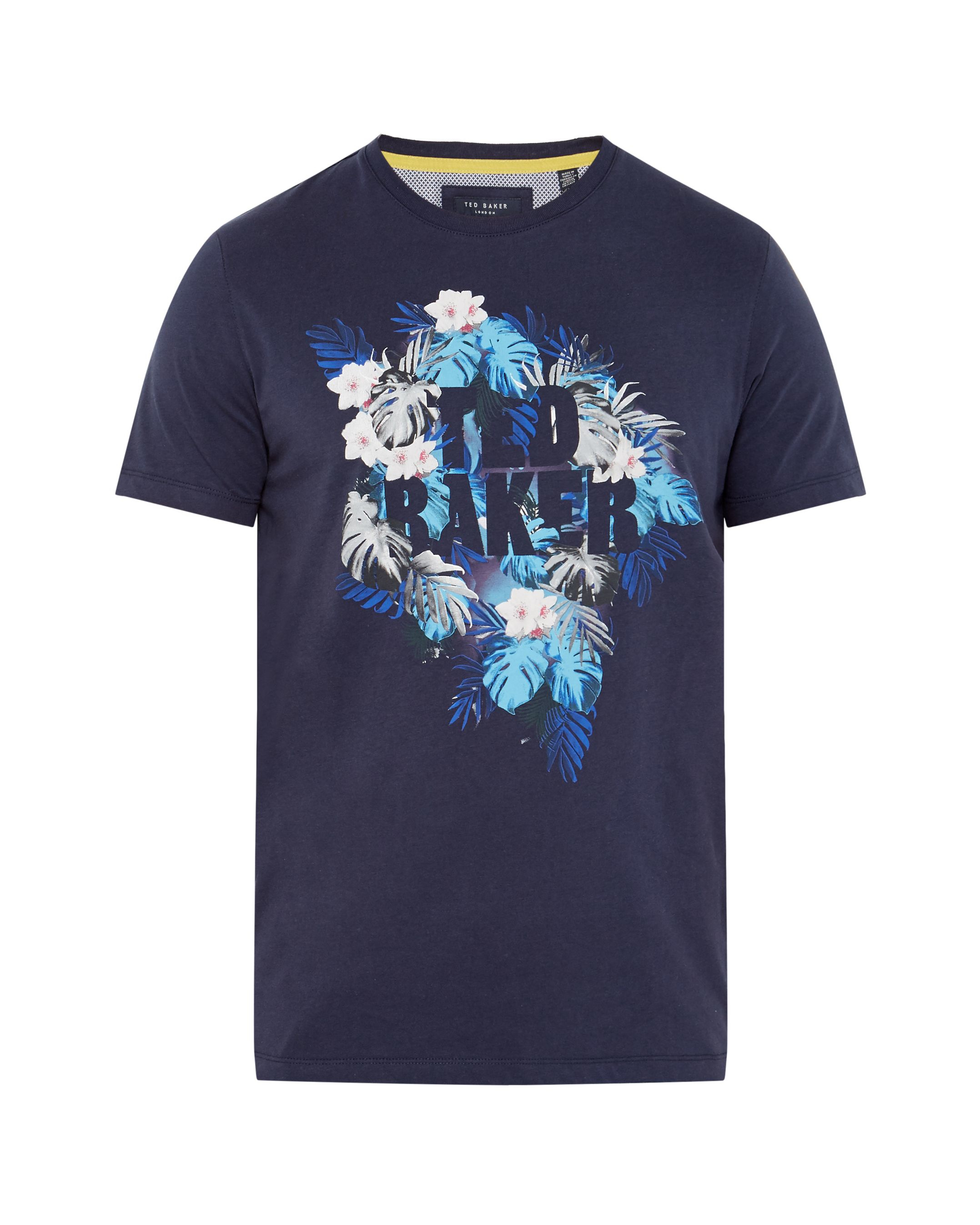 Ted baker voltay tropical graphic t shirt in blue for men for Ted baker blue shirt