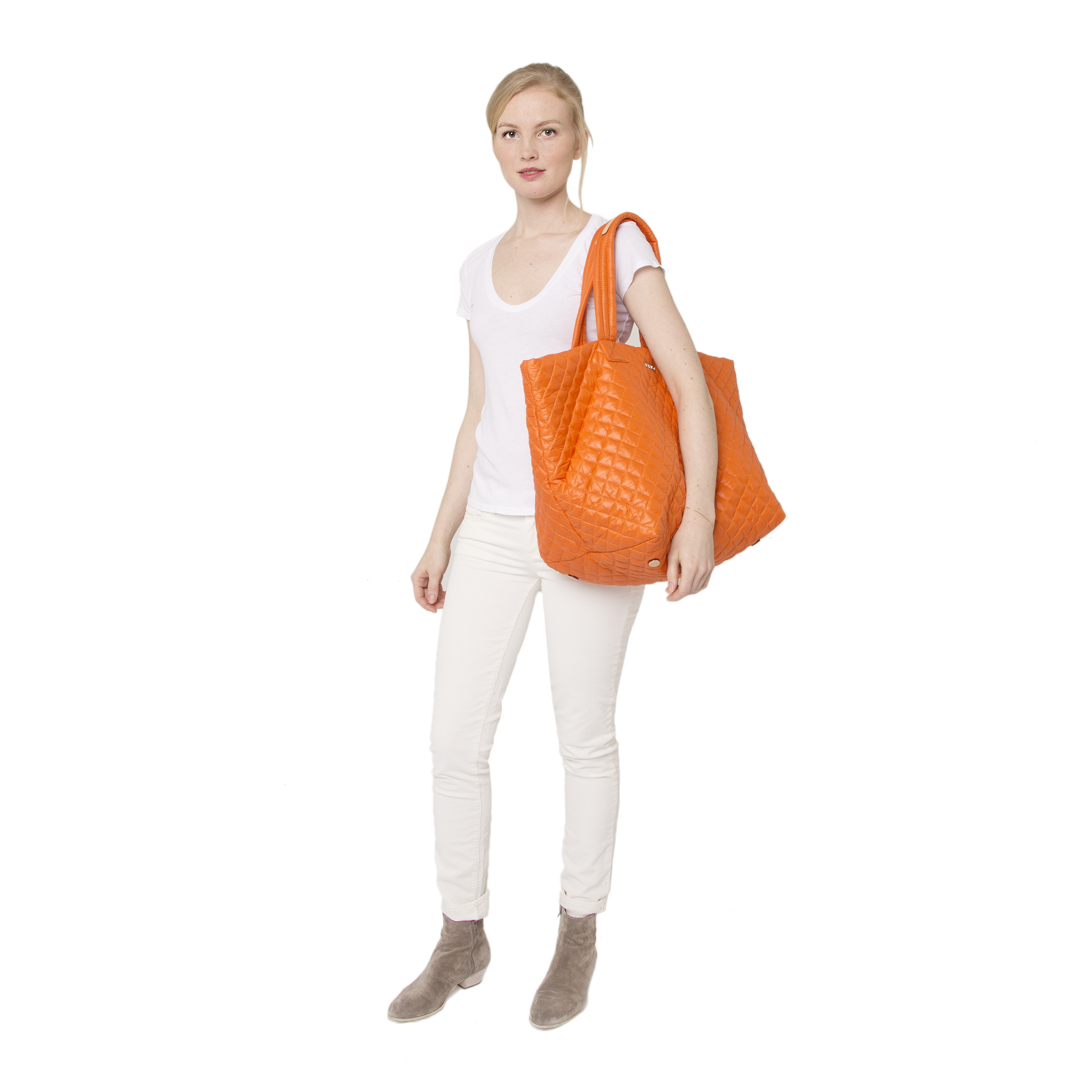 MZ Wallace Tangerine Quilted Oxford Nylon Large Metro Tote in Orange